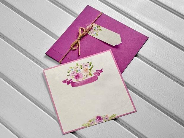 Единична картичка в розово № 10419