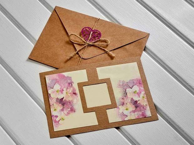 Картичка крафт и цветя в лилаво-розово № 10421