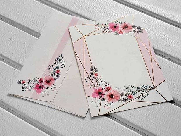Единична картичка розови цветя № 10514