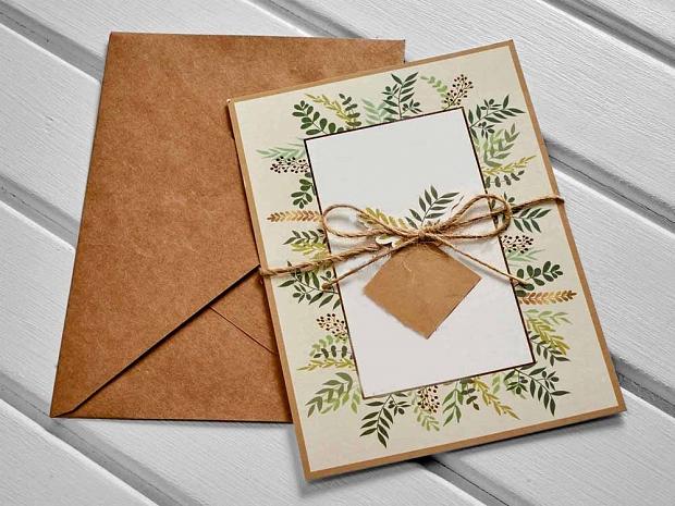 Единична картичка зелено и крафт № 10533