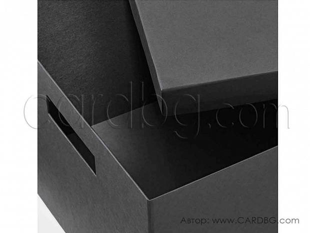 Черна здрава каширана кутия р-р 27х35х20 см.