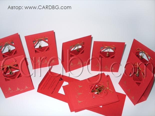Ръчно рисувани картички с камбанка в червено и златно
