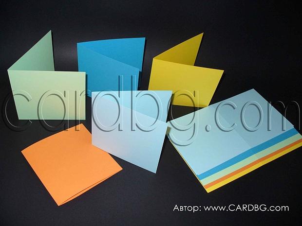 Цветни картони, заготовки за направа на картички, 25 бр цветове микс