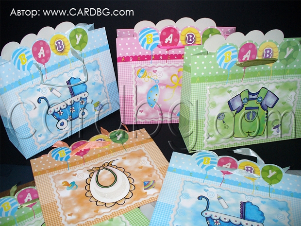 10 броя цветни картонени торбички за подаръци 32х28х11 см код 61