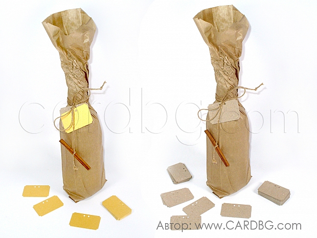 Етикети, тагове от рециклиран картон 25 броя