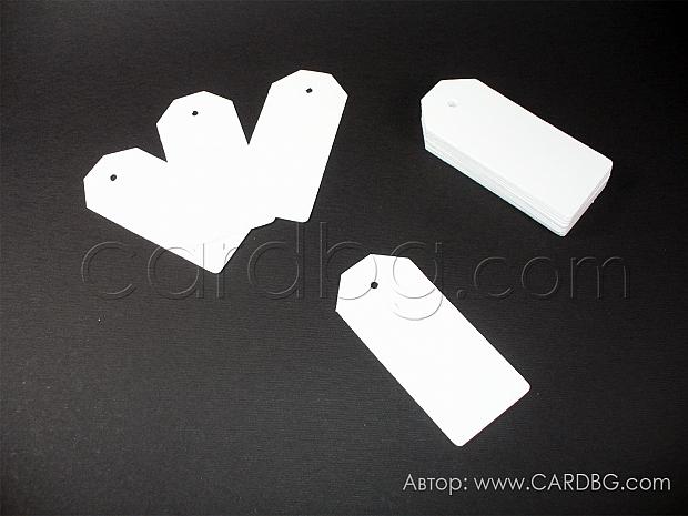 Етикети тагове бели 50 бр 4х9 см