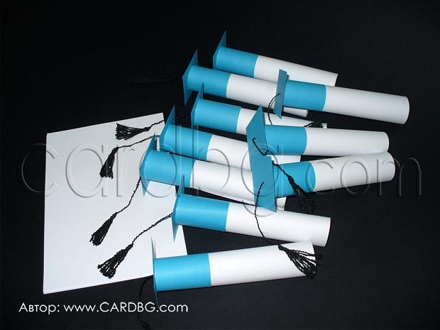 Покани шапки - свитък в цветове морско синьо, бяло и черно