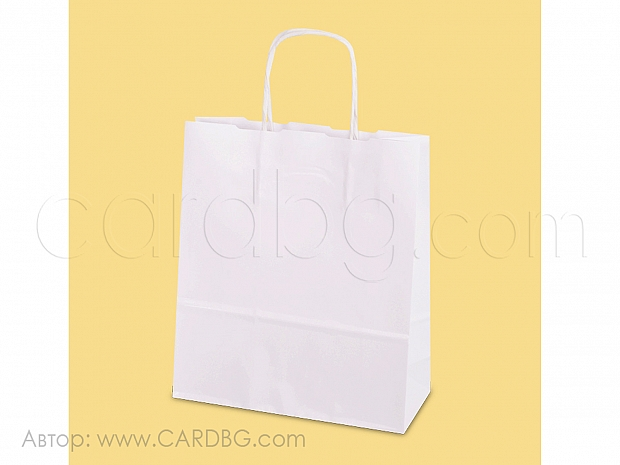 Хартиена торбичка бяла р-р 20х24х8 см, 10 броя код 34-52
