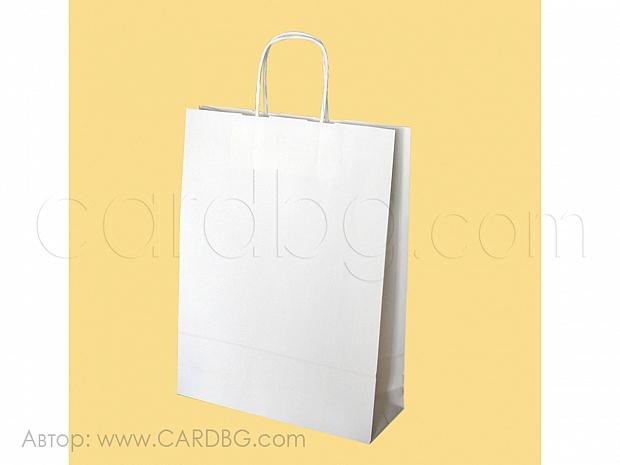 Хартиена торбичка бяла р-р 25,5х33х8 см, 10 броя код 34-50