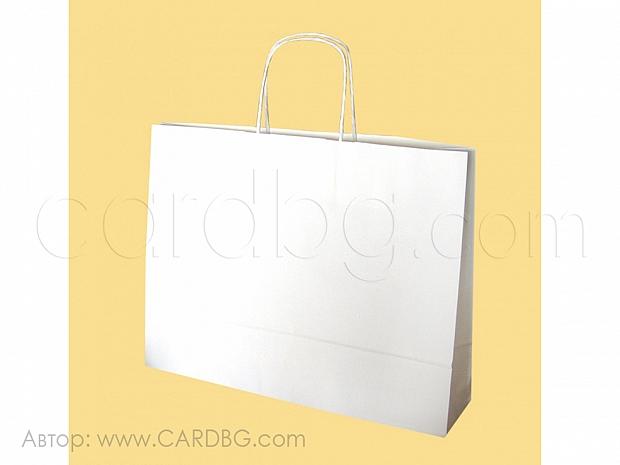 Бял хартиен плик с дръжки р-р 37,5х29х8 см, 10 броя код 34-51