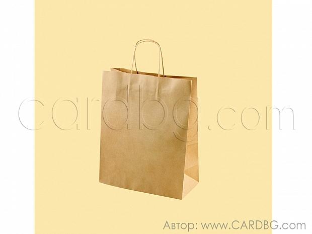 Натурална хартиена чанта за продукти 20х24х8 см, 10 броя код 34-54