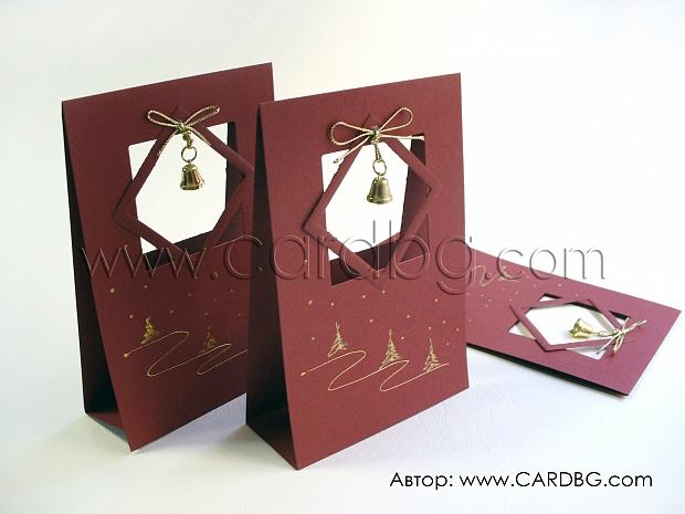 Коледна картичка с камбанка в цвят бордо № 02