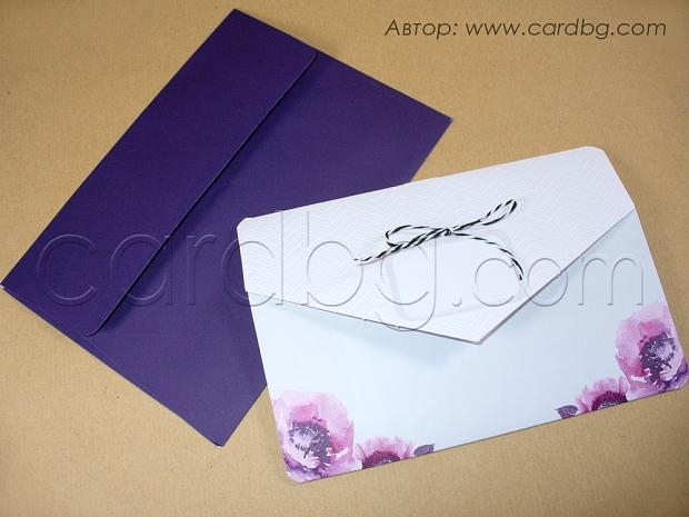 Луксозна картичка в бяло и лилаво № 39216