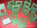 Коледна картичка с камбанка от зелена перла № 03