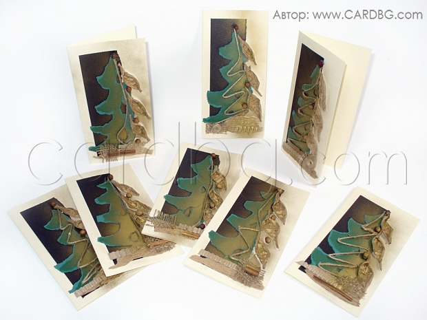 Ръчно изработена 3д картичка елха