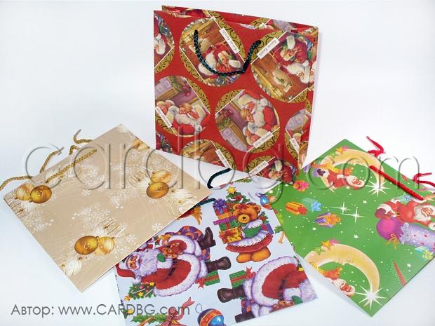 Коледни торбички среден квадрат р-р 24х26х9 см