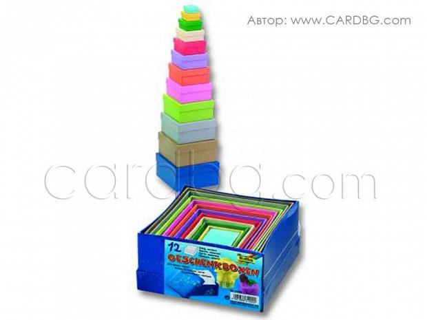 Комплект от 12 броя твърди, цветни кутии с подвижен капак