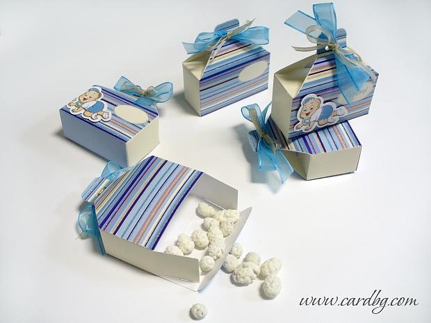 Кутия в сини цветове с панделки № 4005 9x5x3,5 см.