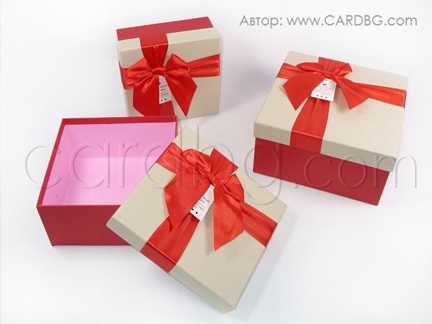 Комплект от 3 броя луксозни здрави кутии в екрю и червено