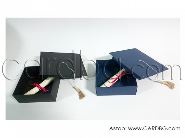 Покана-кутия във формата на шапка за бал, абсолвенти р-р 12х12х5 см