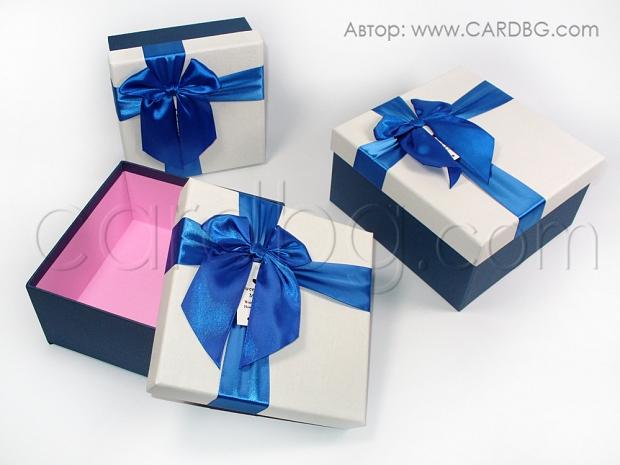 Комплект от 3 броя каширани кутии със синя панделка