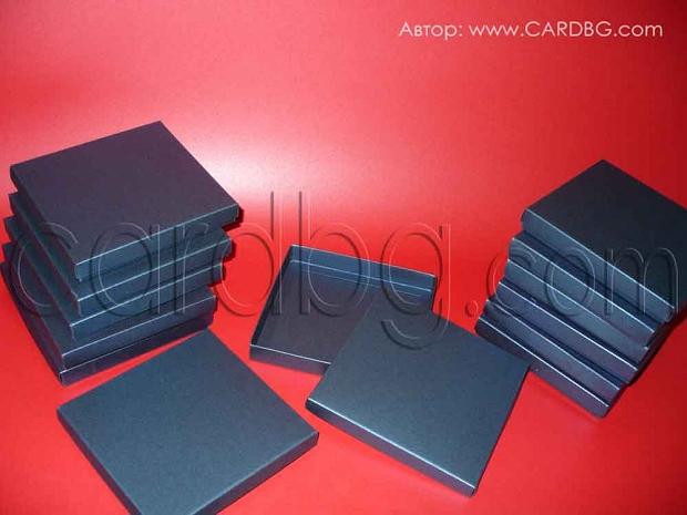 Луксозна кутия с капак  14,7х14х2 см от тъмно синя перла
