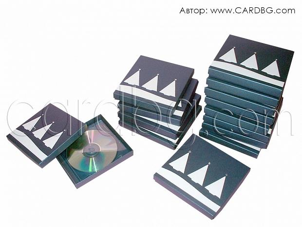 Луксозна кутия за CD с апликация 14,7х14х2 см от тъмно синя перла