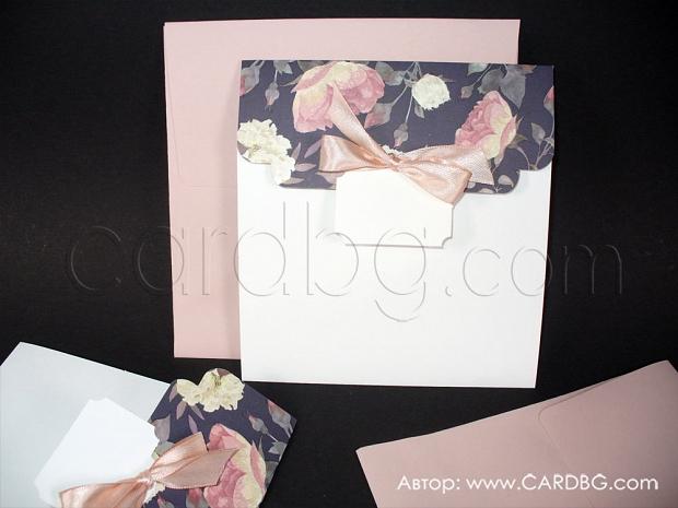 Луксозна покана за сватба в черно и пепел от рози