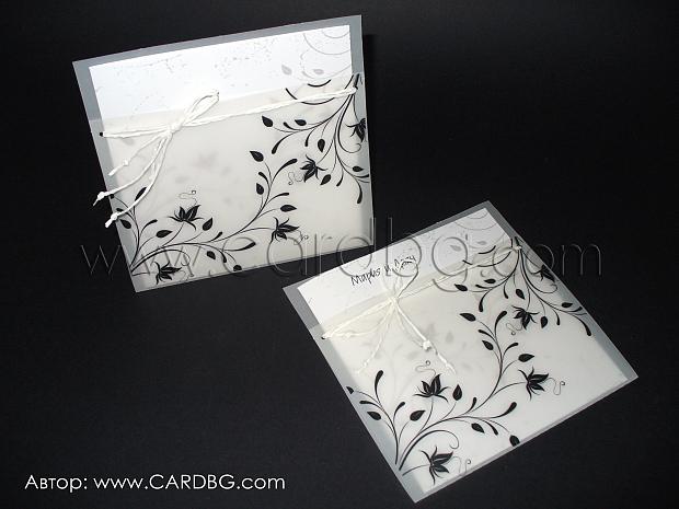 Стилни картички бяло, черно №32705