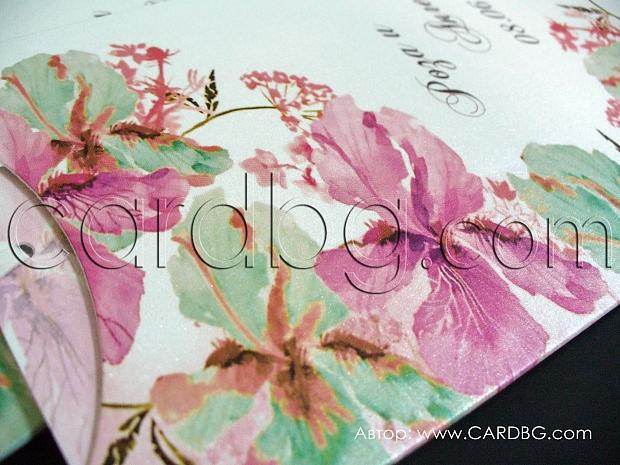 Покани-папка с издърпване в розово, зелено и бяло с гладиоли