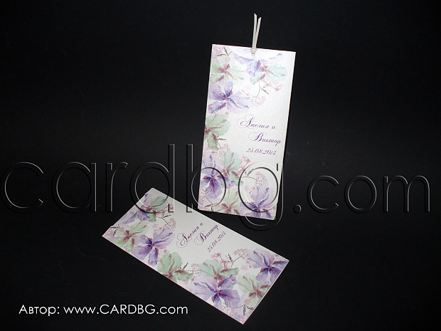 Покани-папка с издърпване в лилаво с гладиоли
