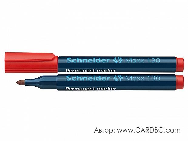 Перманентен маркер schneider червен цвят, овален писец