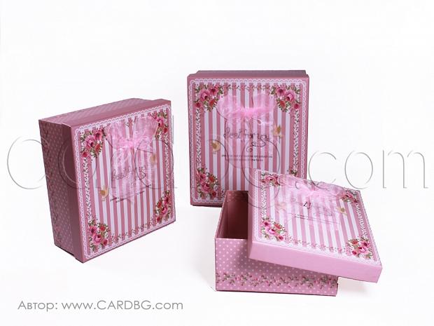 Картонени кутии розови за момиче комплект 3 броя GM04