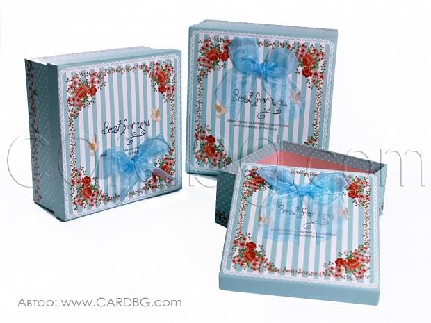 Картонени кутии сини за момче комплект 3 броя GM03