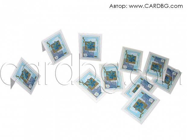 Мини картички синьо цвете