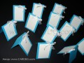 Тейбъл картички в светло синьо, тюркоазено за име и номер