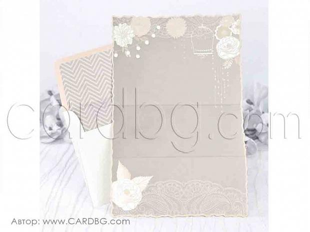 Елегантна покана в пастелни цветове в бежаво и екрю № 39228