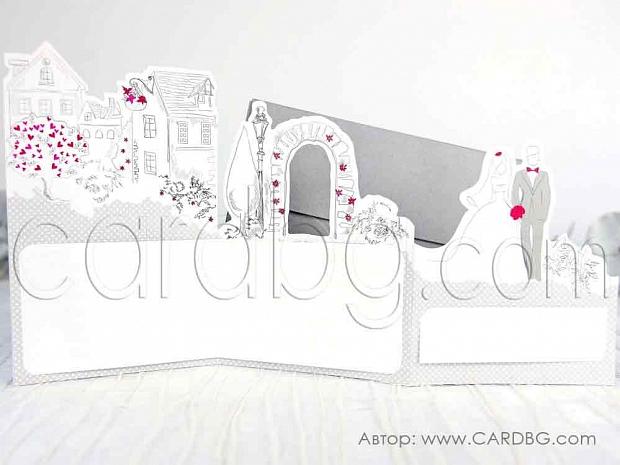 Картичка в сиво, бяло и циклама с младоженци № 39238