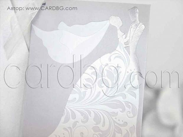Елегантна покана в бяло, сиво и сребристо № 39214