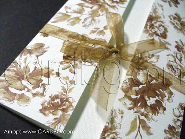 Покана с кафяви рози и органза на бял фон № 0411
