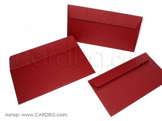 Пощенски перлен плик цвят бордо размер DL