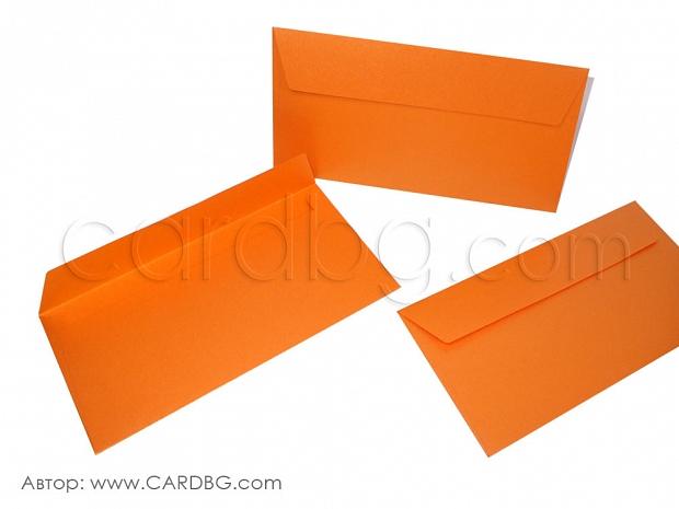 Перлен пощенски плик наситено оранжев 25 бр