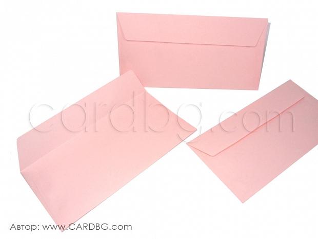 Пощенски плик дл светло розов с капак без лепило