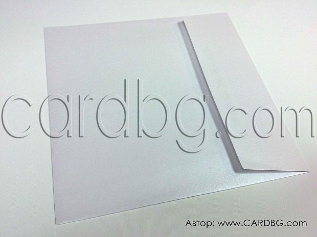 Квадратен пощенски плик от бяла перла с капак без лепило