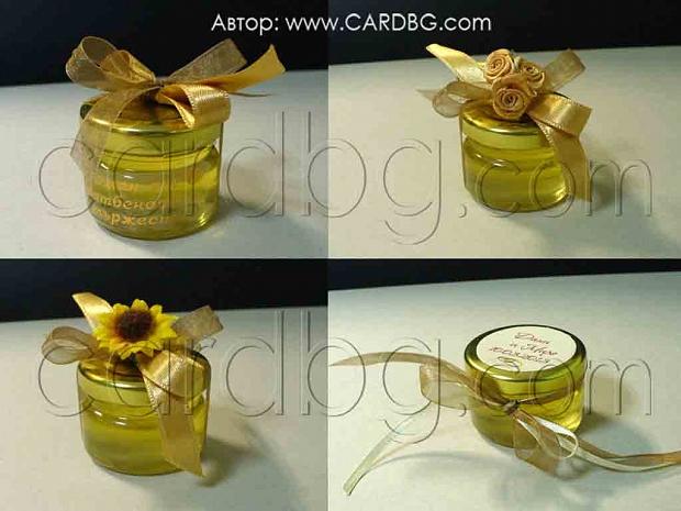 Подарък за гостите - бурканче с мед и украса