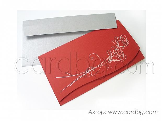 Стилна покана в тъмно червен цвят със сребриста роза