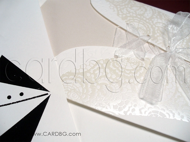 Елегантна бяла покана - корсет № 39203