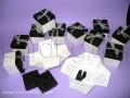 Ефектна покана - кутия в бяло и черно с органза № 34951