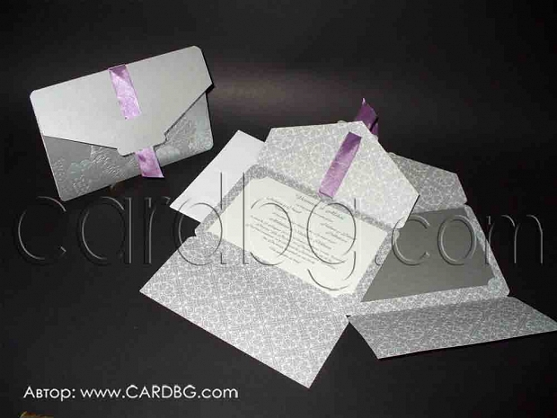 Стилна покана в цветове светло сиво, сребристо и лилаво № 39113
