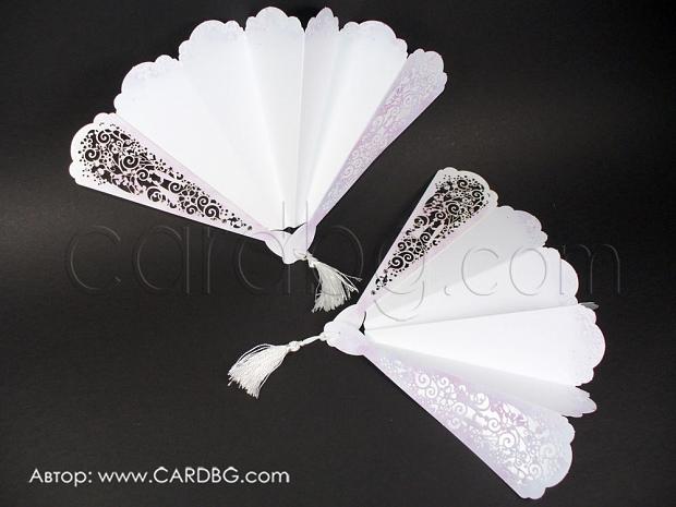 Ефектна сватбена картичка - ветрило № 39332